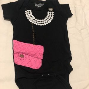 Baby Pearls and Purse Onesie, 0-6mo